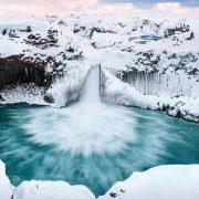 Island, Aldeyjarfoss, Winter, Hochland, Basalt
